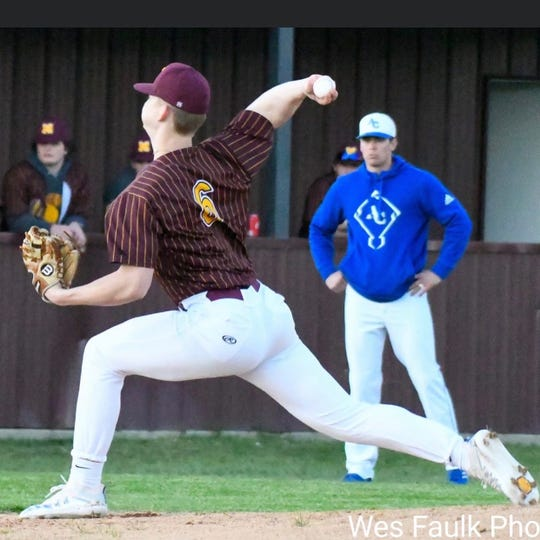 Monterey's Jacob Spinks pitches during a game this season.