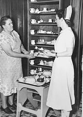 Preparing some of the meals for the residents, about 1950.