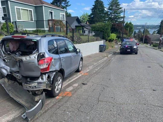 A pregnant woman was injured Wednesday in the Manette neighborhood of Bremerton when her vehicle was rammed from behind by a man suspected of being drunk.