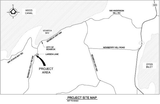 A map shows where Seabeck Holly Road NW will be closed as the Hood Canal Salmon Enhancement Group and Kitsap County work together to replace a culvert with a bridge to allow fish to more easily pass through.
