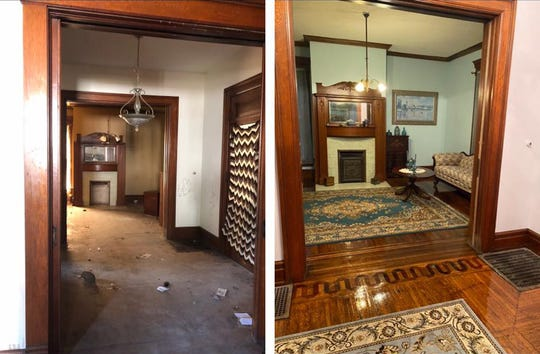 A before and after photo of the foyer inside the newly renovated Nostalgia Bed and Breakfast in Frankfort, Ohio. The Claytor family spent one year renovating the 1899 home.