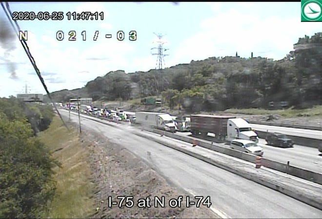 A crash on the ramp from I-74 Eastbound to I-75 Southbound has slowed traffic and closed lanes due to a tanker leaking.