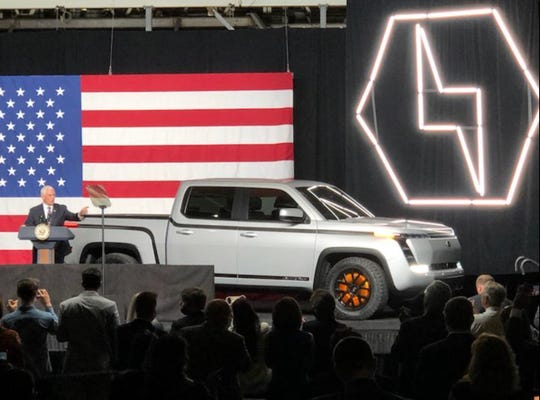 Vice President Mike Pence speaks at the unveiling of the all-electric Endurance pickup truck built at the Lordstown Motors in Lordstown, Ohio, June 25, 2020.