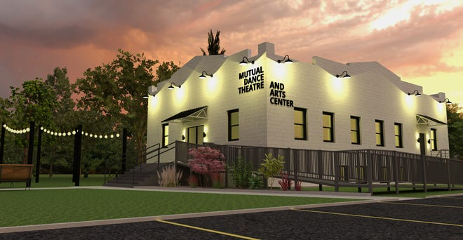 A rendering of the Hartwell home of the newly formed Mutual Dance Theatre. Housed in a former church, the building will have four dance studios, a black box theater and be the home of an academy of modern dance. Model by Andrea Fernando and David Eppele.