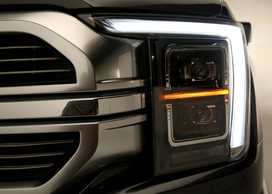 C-clamp LED running lights on the all new 2021 Ford-150 Limited as seen in a photo studio in Ferndale, Michigan on Wednesday, June 24, 2020. This is the Limited edition and the C-clamp LED running lights come on all the models of the popular pickup truck.