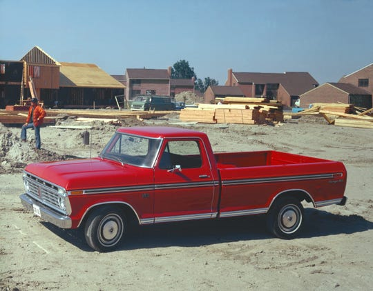 This 1975 Ford F-150 is the first 150 built by Ford. The image came from the Ford archive on June 25, 2020.