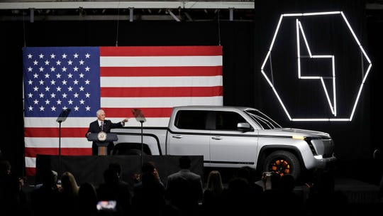 Vice President Mike Pence speaks at the launch of the electric Endurance pickup truck at Lordstown Motors Corporation on June 25, 2020, in Lordstown, Ohio.
