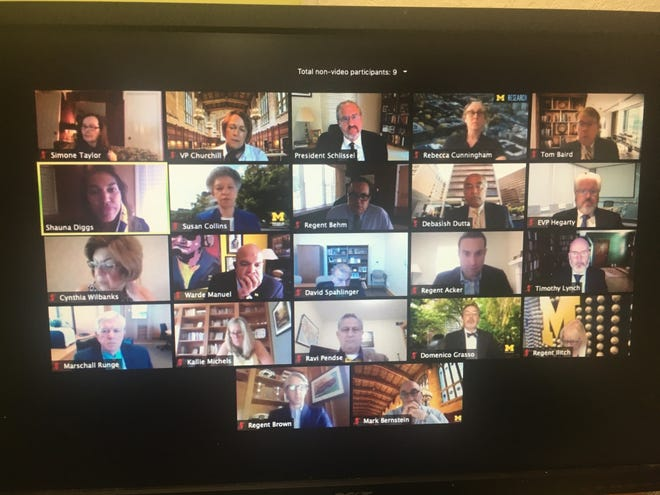 The University of Michigan Board of Regents and administrators hold a virtual board meeting to approve the budget for the next school year on June 25, 2020/