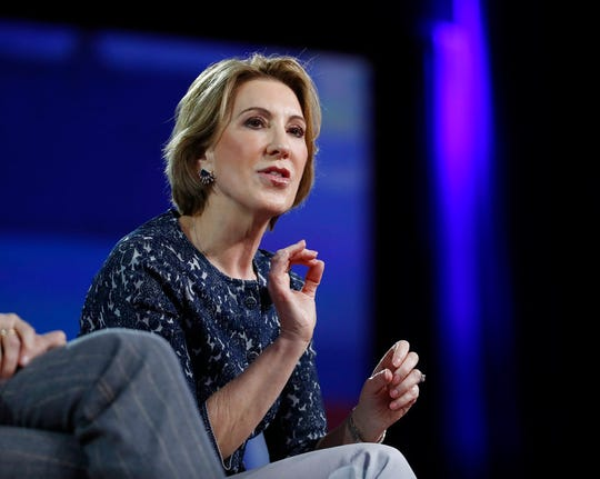 In this Feb. 24, file photo, Carly Fiorina speaks at the Conservative Political Action Conference (CPAC), in Oxon Hill, Md.