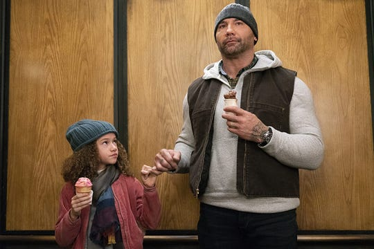 """Chloe Coleman and Dave Bautista in """"My Spy."""""""
