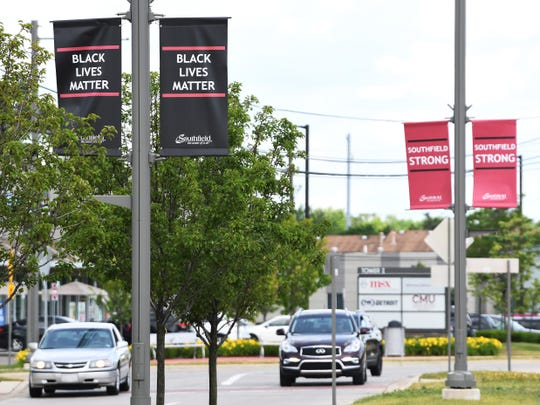 Black Lives Matter banners hang from street poles along Evergreen Rd. between 10 and 11 Mile roads in Southfield.