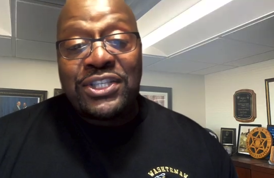 """Washtenaw County Sheriff Jerry Clayton participates in """"Solutions Not Slogans,"""" a Zoom conference call with community leaders to discuss ways to bridge the gap between residents and the police."""