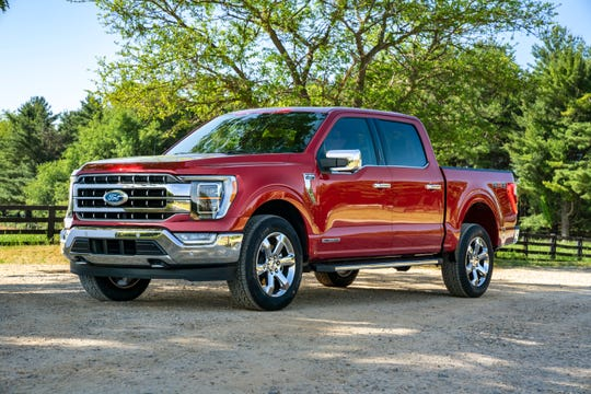 Ford introduced its all-new F-150 pickup Thursday. Here's a Lariat in Rapid Red Metallic Tinted Clearcoat.