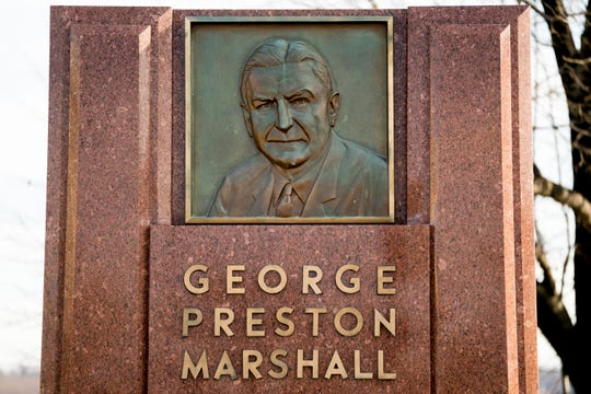 FILE - In this Dec. 14, 2017, file photo, the George Preston Marshall monument outside RFK stadium in Washington is shown.