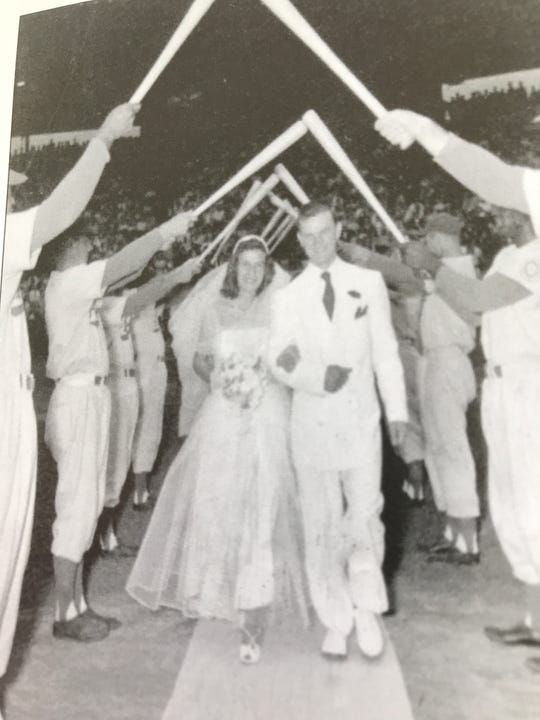One of the great memories of Dunn Field was the wedding of Miss Jean Carol Beaurle to Donald Zimmer on August 16, 1951, with 3,500 people in attendance.