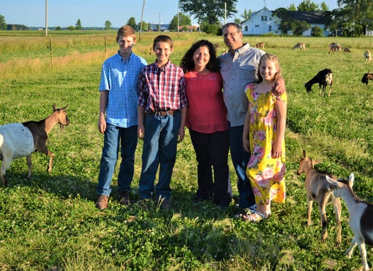 The Giesler family's passion for sustainable farming led to the creation of their business, The Flour Child. Matt and Becky Giesler are aided on their farm by their three children. From left are Dylan, Nate, Becky, Matt and Gabrielle.