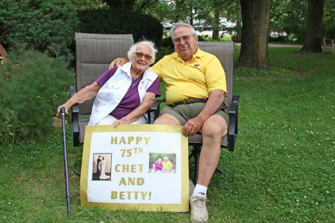 Chet and Betty Mauch of Lindsey celebrated their 75th wedding anniversary on Tuesday.