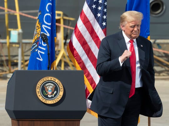President Trump speaks Thursday, June 25, 2020, at Fincantieri Marinette Marine in Marinette, Wis. Trump's visit comes in the middle of his reelection bid against former Vice President Joe Biden, who secured the Democratic nomination earlier this month after a crowded primary contest. Both candidates hope to claim Wisconsin this November after Trump narrowly won the state in 2016, handing it to Republicans for the first time in years.