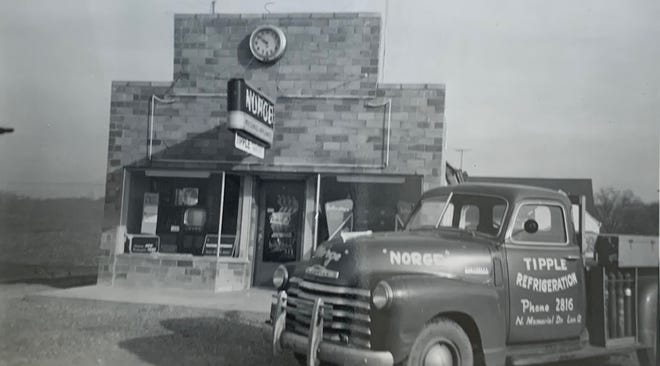 Tipple Refrigeration was located on N. Memorial Drive when this photo was taken in November 1950. Devon W. Tipple had purchased the property and built his store and a house for his family at this location.