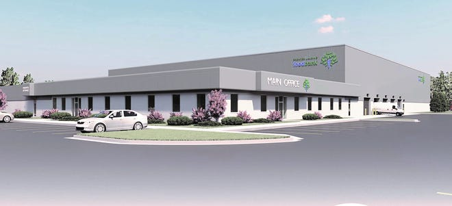 A rendering of the Greater Lansing Food Bank's new facility in Bath.