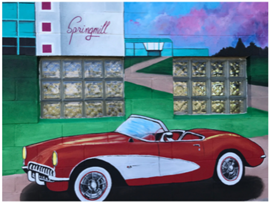 This is one of nine murals being painted on the west side of the historic Reindl Springs building on Park Avenue East by local artist Erica Russell. Bob Blanton, the owner of B & B Auto Repair Inc. purchased the neighboring building in 2019 next to his existing business. He loves history, thus the murals Lou Whitmire/News Journal.