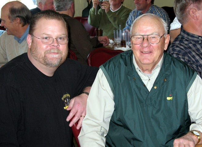 Legendary Memphis and Shelby County high school basketball coach John Clayton, right, died Wednesday evening. He was 86. Clayton is pictured with his son, Clay, at a reunion with many of his former players in 2008.