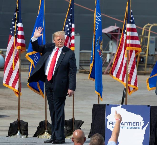 President Trump speaks Thursday, June 25, 2020 at Fincantieri Marinette Marine in Marinette, Wis.
