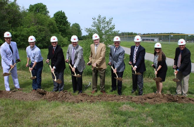 Lake Country Lutheran recently broke ground on the Ewald Family Sports Pavilion. The school will also be getting field turf for its football field. Pictured from left: Andrew Locke, Zach Bickel, Craig Ewald, Tom Ewald, Emil Ewald, Brian Ewald, Dan Ewald, Kathryn Baganz and Cole Braun.