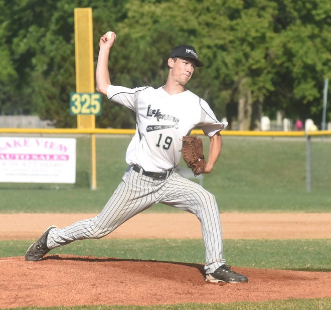 Lockeroom's Will Uchtman delivers a pitch against West Plains, Mo., Wednesday at Cooper Park.