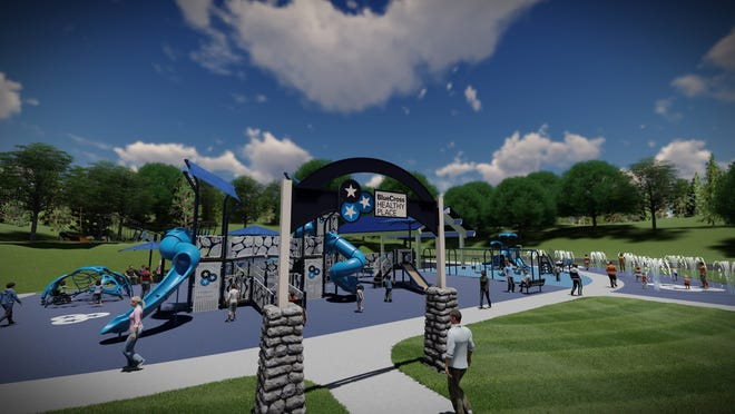 A rendering shows the $5 million outdoor play area to be built outside Nashville's Northwest YMCA in Bordeaux. The BlueCross Healthy Place will be funded by BlueCross BlueShield of Tennessee Foundation. Construction is slated to begin in late 2020.