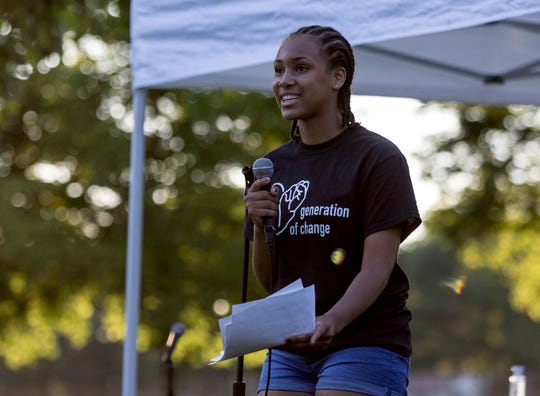 Heath junior Jadyn Paige speaks at the close of the Students Against Racism Forum she organized on Wednesday evening at Heath's Geller Park. Around 100 people came out for a discussion on racism and what allies can do to help. Students from schools across the county got up to speak.