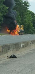 A vehicle fire on Route 80 in Totowa caused extensive delays on Thursday afternoon, June 25, 2020.