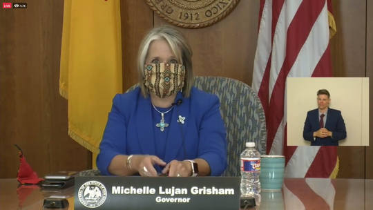 Gov. Michelle Lujan Grisham speaks at a virtual COVID-19 press conference June 25, 2020.