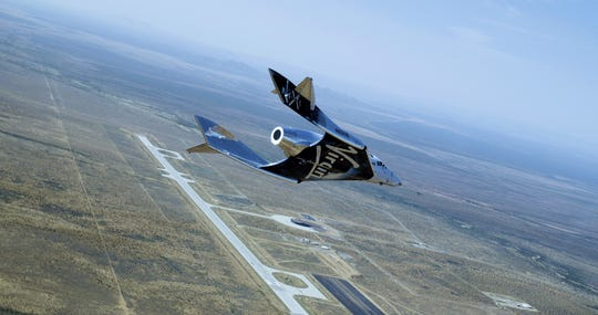SpaceShipTwo VSS Unity glides in for a landing at Spaceport America on June 25, 2020.