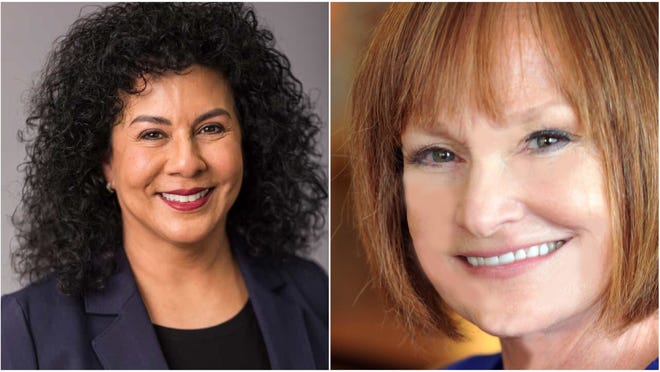From left, Democratic candidates for Doña Ana County Commission in District 4, Susana Chaparro and Debra Hathaway.