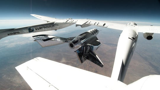 The VSS Unity is released From VMS Eve during a glide flight over New Mexico on June 25, 2020.