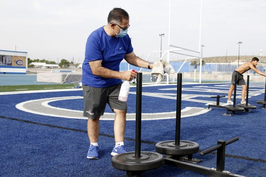 The lineman sleds are sanitized after each use during practice on June 23, 2020.