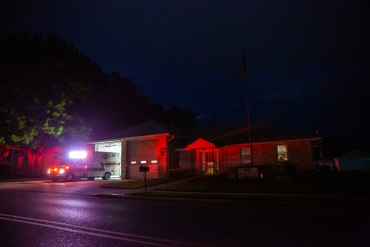 An ambulance backs into Hanover Area Fire and Rescue's Clearview Fire Station on George Street in Hanover on Monday, May 18, 2020.