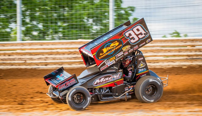 Dillsburg Driver Anthony Macri races around Port Royal Speedway on June 14. Macri has won four consecutive 410 sprint races at the track after Wednesday night's victory in a Pennsylvania Sprint Car Speedweek event.