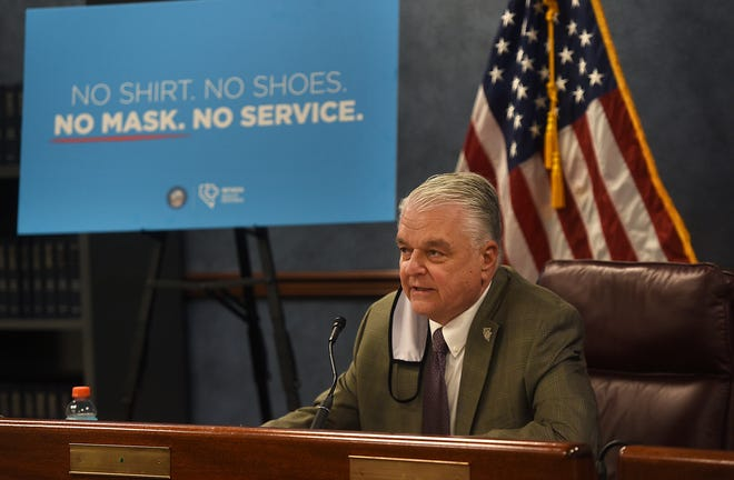 Nevada Governor Steve Sisolak speaks during a press conference in the Nevada State Legislature Building in Carson City on June 24, 2020.