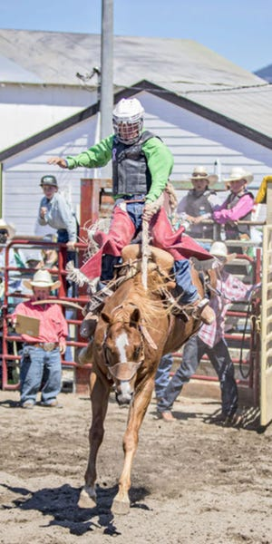 Chad Giovacchini competes in a saddle bronc competition.