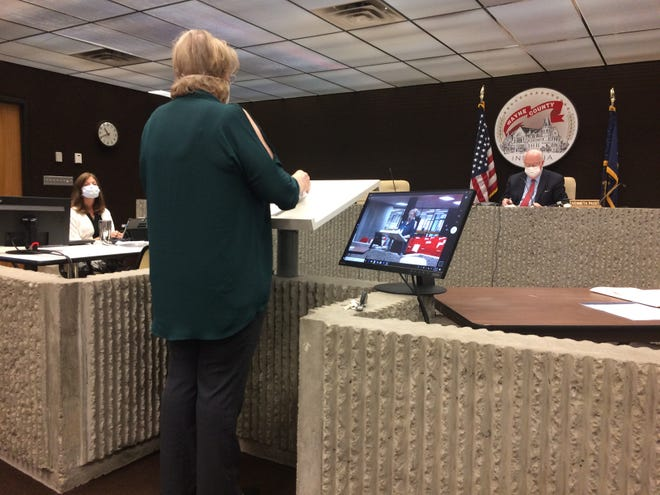 Christine Stinson, director of the Wayne County Health Department, speaks during the Wednesday, June 24, 2020, meeting of Wayne County's Board of Commissioners.