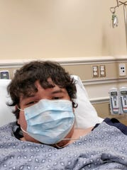 Dakota Sandoval, 24, of Salinas, is pictured here after he was hospitalized at the Salinas Valley Memorial Healthcare System because of COVID-19.