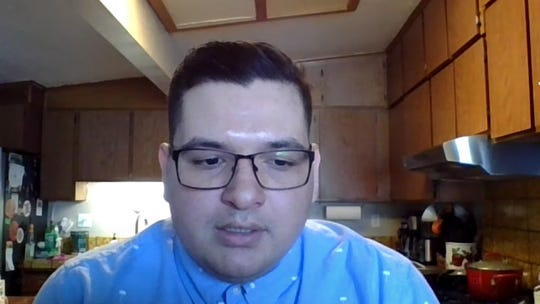 Dakota Sandoval, 24, of Salinas, is pictured here in a Zoom chat Thursday. He's telling his fellow young adults that the coronavirus can infect them and cause major complications as well as spread from them even if they don't show symptoms.