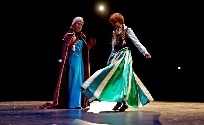 Actors with the San Angelo Broadway Academy take their places during a dress rehearsal for the upcoming performance of Frozen at the Murphey Performance Hall on Wednesday, June 24, 2020.