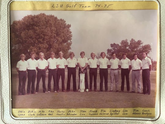 The 1974-75 LSU golf team finished second in the SEC. The team included Eddie Lyons, Dickie Clark, Mike LaBauve, Pike Hall, Shelby Houston, Mike Schroder, Stan Lee, Frank Gusmus, Jim Holmes, Lindsey Spiller, Lon Lee, Jim Adams and coach Brogden.