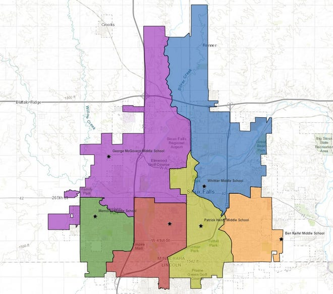 The map shows the new middle school boundaries for the Sioux Falls School District that will take effect fall 2021.