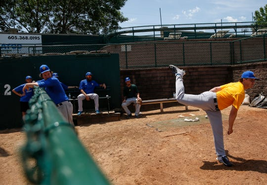 Sam Bragg practices pitching during the first Canaries practice on Thursday, June 25, 2020 in Sioux Falls, S.D.