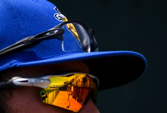 A reflection of Sam Bragg is seen in Tyler Herron's sunglasses during their first practice on Thursday, June 25, 2020 in Sioux Falls, S.D.