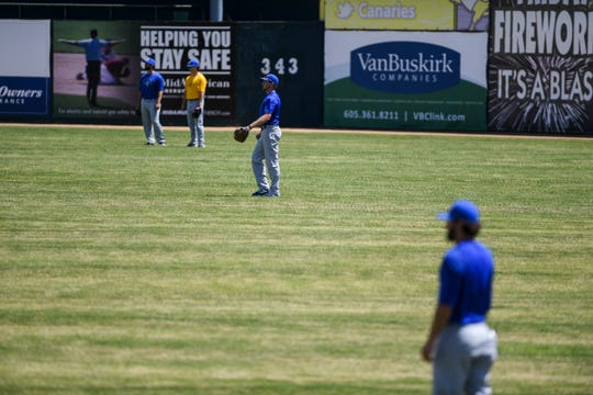 The Canaries gear up for the season opener during their first practice on Thursday, June 25, 2020 in Sioux Falls, S.D.